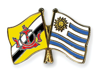 Crossed Flag Pins Brunei-Darussalam-Uruguay