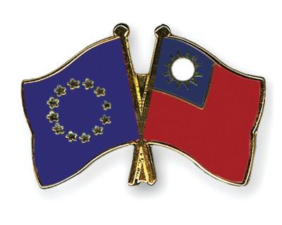 Crossed Flag Pins European-Union-Taiwan