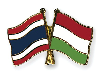 Crossed Flag Pins Thailand-Hungary