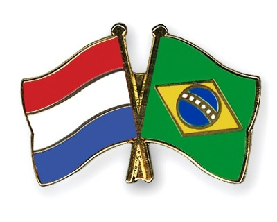 Special Offer Crossed Flag Pins Netherlands-Brazil