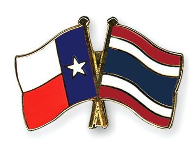 Crossed Flag Pins Texas-Thailand