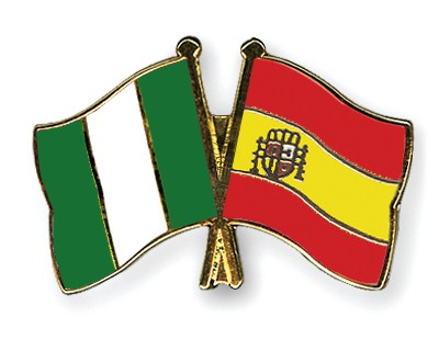 Crossed Flag Pins Nigeria-Spain