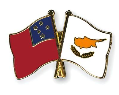 Crossed Flag Pins Samoa-Cyprus