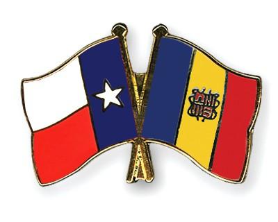 Crossed Flag Pins Texas-Andorra
