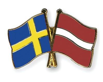 Special Offer Crossed Flag Pins Sweden-Latvia
