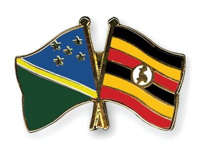 Crossed Flag Pins Solomon-Islands-Uganda