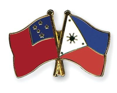 Crossed Flag Pins Samoa-Philippines