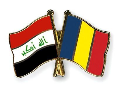 Crossed Flag Pins Iraq-Romania