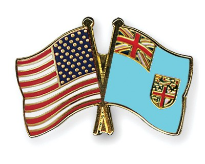 Crossed Flag Pins USA-Fiji