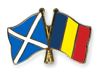 Special Offer Crossed Flag Pins Scotland-Romania