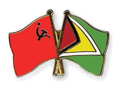 Crossed Flag Pins USSR-Guyana