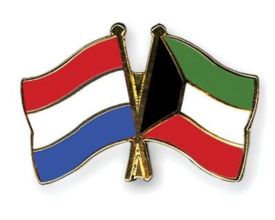 Crossed Flag Pins Netherlands-Kuwait