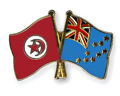 Crossed Flag Pins Tunisia-Tuvalu