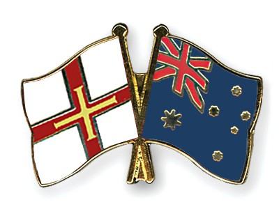 Crossed Flag Pins Guernsey-Australia