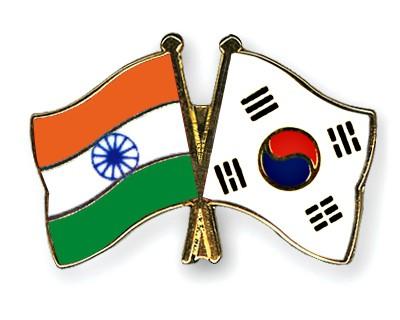Crossed Flag Pins India-South-Korea