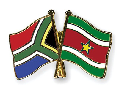 Crossed Flag Pins South-Africa-Suriname