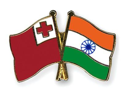 Crossed Flag Pins Tonga-India