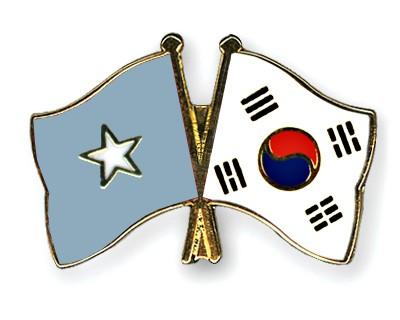 Crossed Flag Pins Somalia-South-Korea