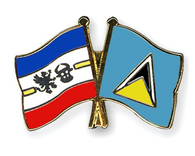 Crossed Flag Pins Mecklenburg-Western-Pomerania-Saint-Lucia