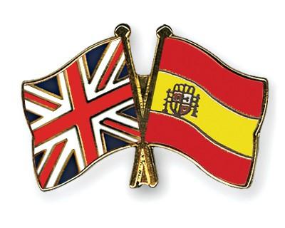 Crossed Flag Pins Great-Britain-Spain