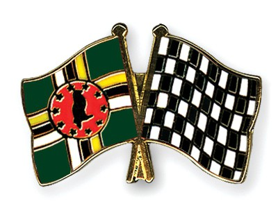 Crossed Flag Pins Dominica-Flag-checkered-black-and-white