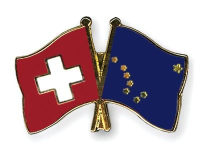 Crossed Flag Pins Switzerland-Alaska