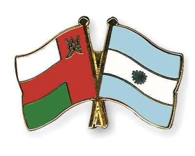 Crossed Flag Pins Oman-Argentina
