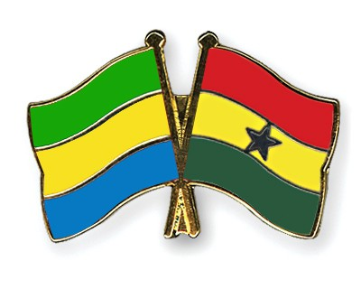 Crossed Flag Pins Gabon-Ghana