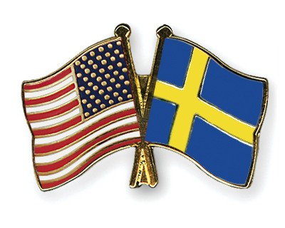 Special Offer Crossed Flag Pins USA-Sweden