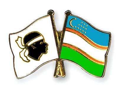 Crossed Flag Pins Corsica-Uzbekistan