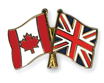 Special Offer Crossed Flag Pins Canada-Great-Britain