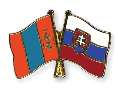Crossed Flag Pins Mongolia-Slovakia