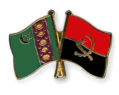 Crossed Flag Pins Turkmenistan-Angola