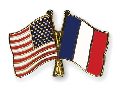 Crossed Flag Pins USA-France