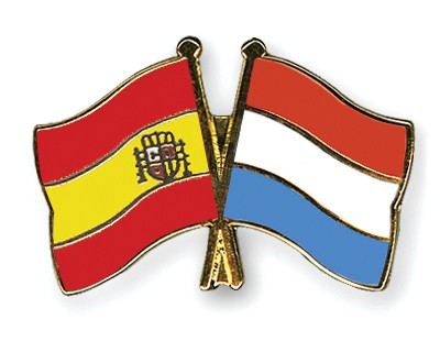 Crossed Flag Pins Spain-Luxembourg