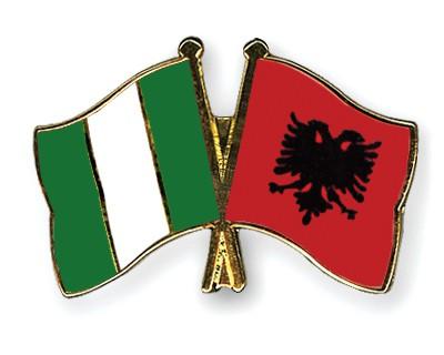 Crossed Flag Pins Nigeria-Albania