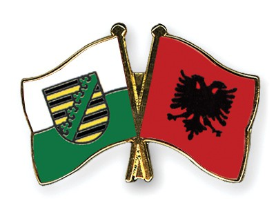 Crossed Flag Pins Saxony-Albania