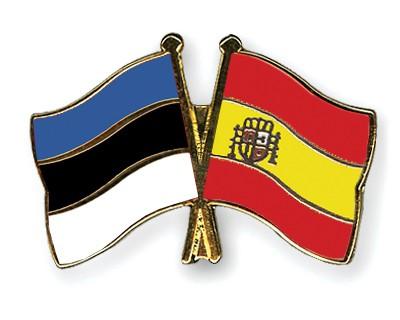 Crossed Flag Pins Estonia-Spain
