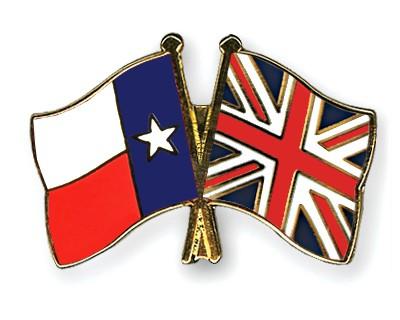 Crossed Flag Pins Texas-Great-Britain