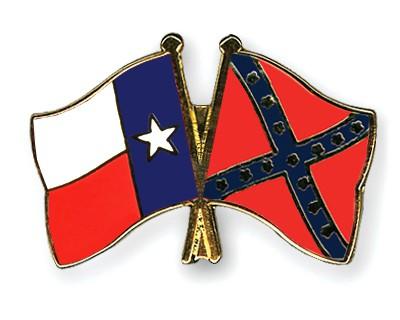 Crossed Flag Pins Texas-Confederate-battle
