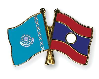 Crossed Flag Pins Kazakhstan-Laos