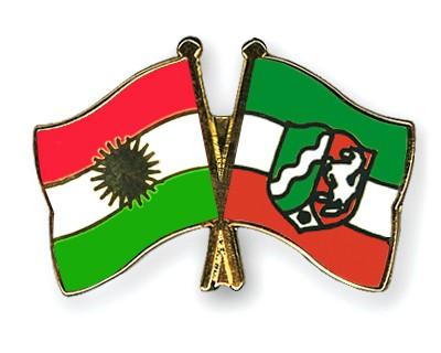 Crossed Flag Pins Kurdistan-North-Rhine-Westphalia