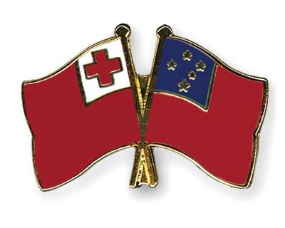 Crossed Flag Pins Tonga-Samoa