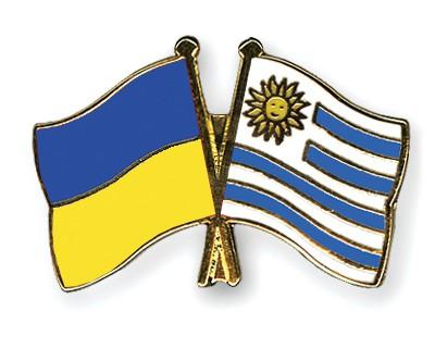 Crossed Flag Pins Ukraine-Uruguay
