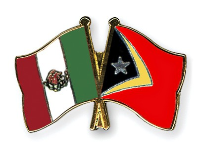 Crossed Flag Pins Mexico-Timor-Leste