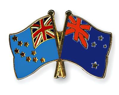 Crossed Flag Pins Tuvalu-New-Zealand