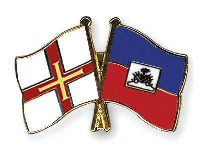 Crossed Flag Pins Guernsey-Haiti