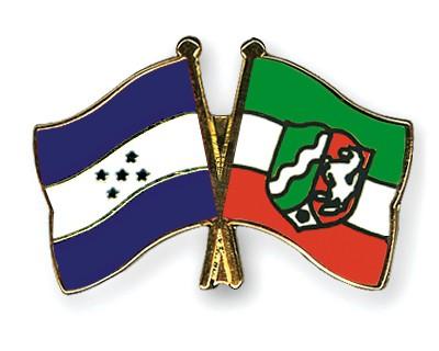 Crossed Flag Pins Honduras-North-Rhine-Westphalia