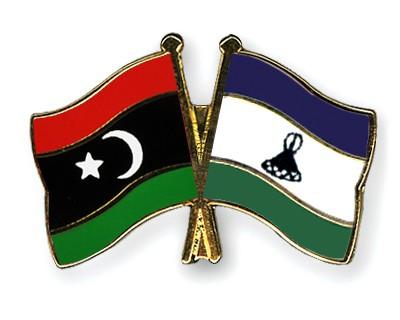 Crossed Flag Pins Libya-Lesotho