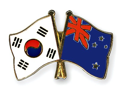Crossed Flag Pins South-Korea-New-Zealand